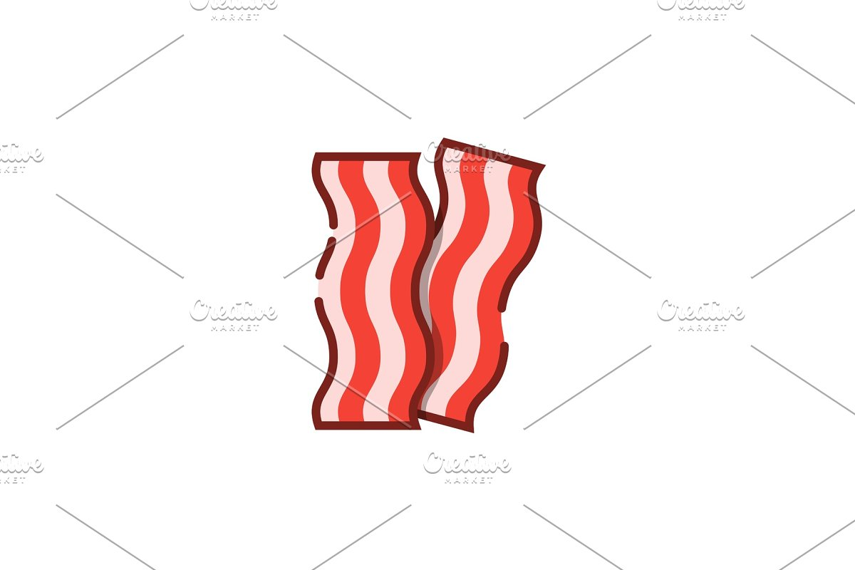 Bacon stripe color outline icon