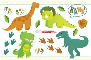 Cute Little Baby Dinosaurs Clipart