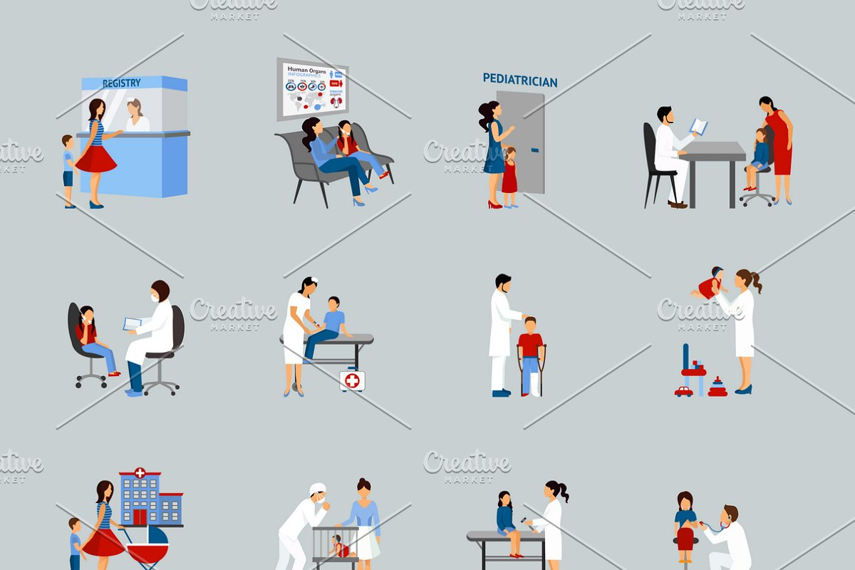 Pediatrician icons set