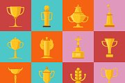 Different types of awards icons set