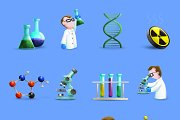Science laboratory equipment icons