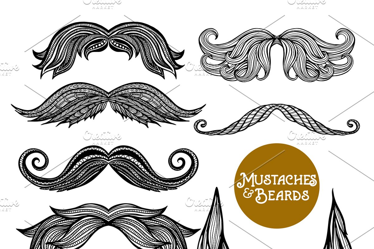Hand drawn beard and mustache set in Icons - product preview 8