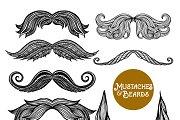 Hand drawn beard and mustache set