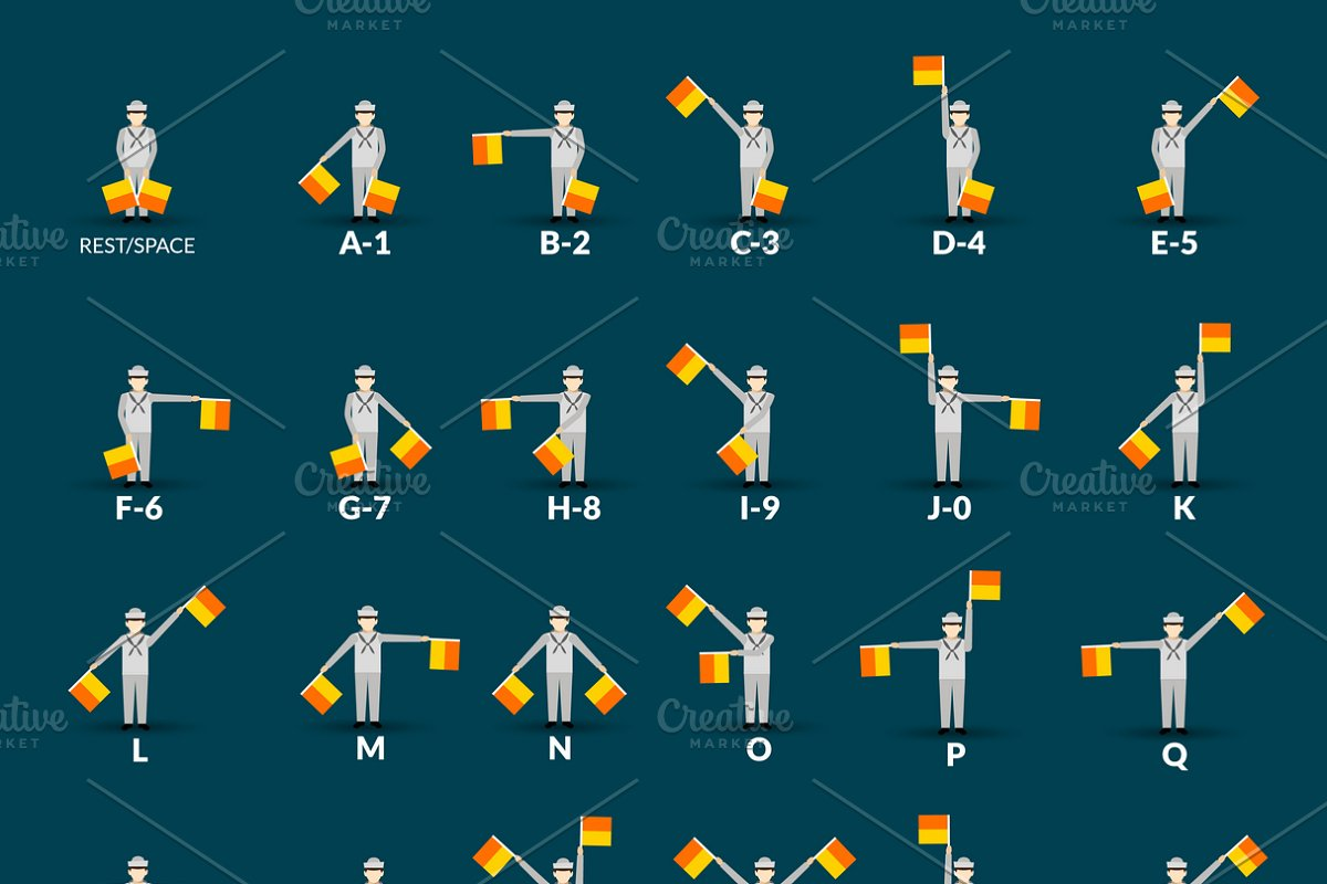 Semaphore alphabet icons set in Graphics - product preview 8