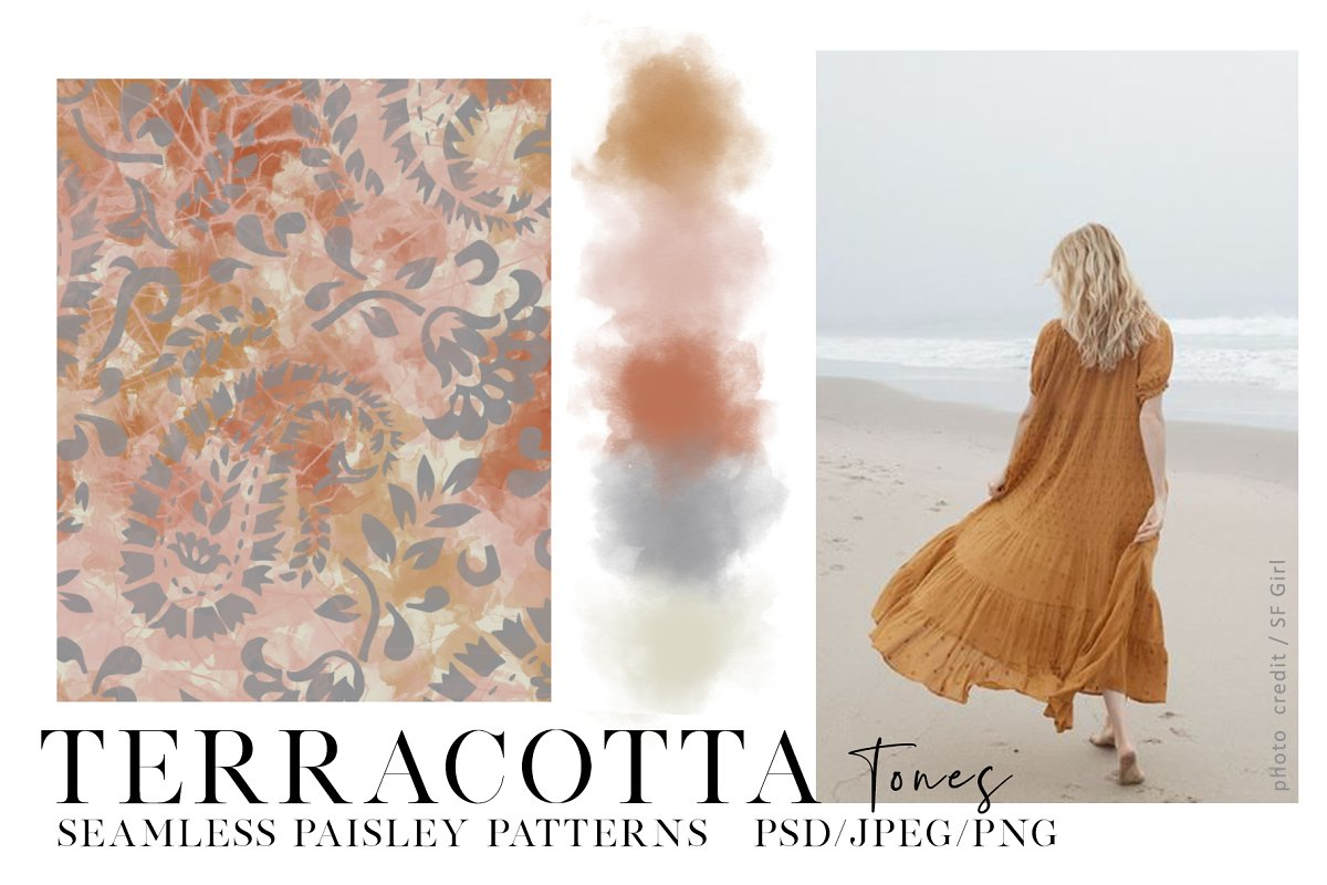 Terracotta Seamless Paisley Patterns