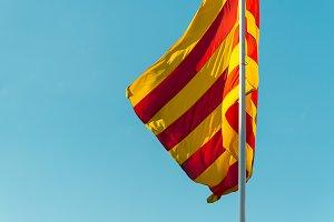 Catalan flag waving against the sky