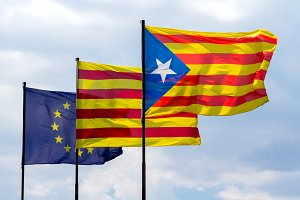 Europe and Catalonia flags (2)