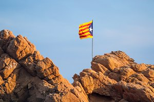 Catalan flag on a rock