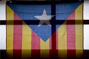 Catalan flag on a window