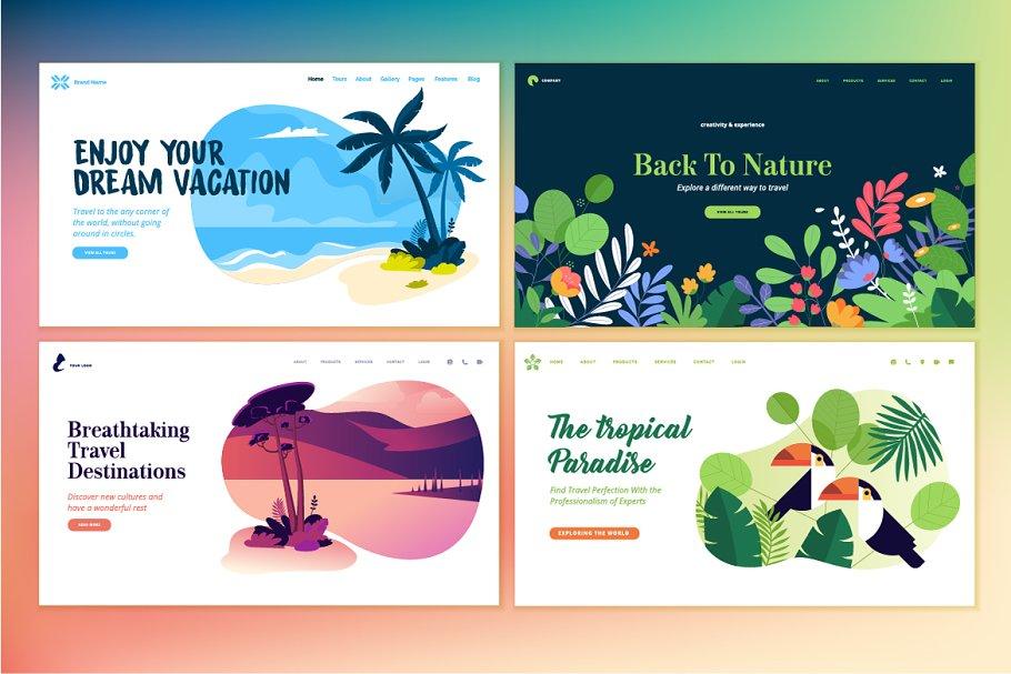 Set of Flat Design Web Templates