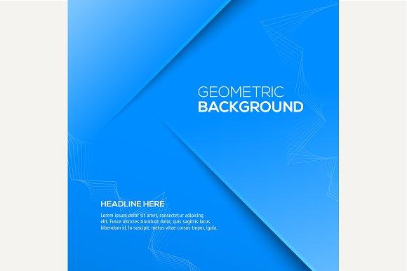 Geometric blue 3D background Vector
