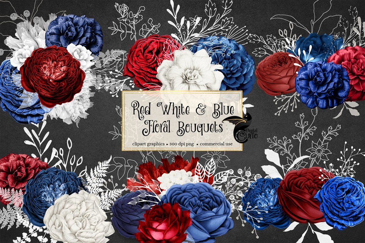 Red White and Blue Floral Bouquets