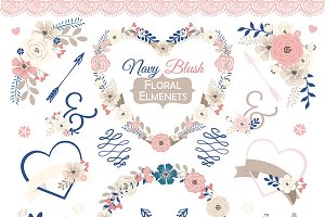 Vector Navy Blush floral elmenets