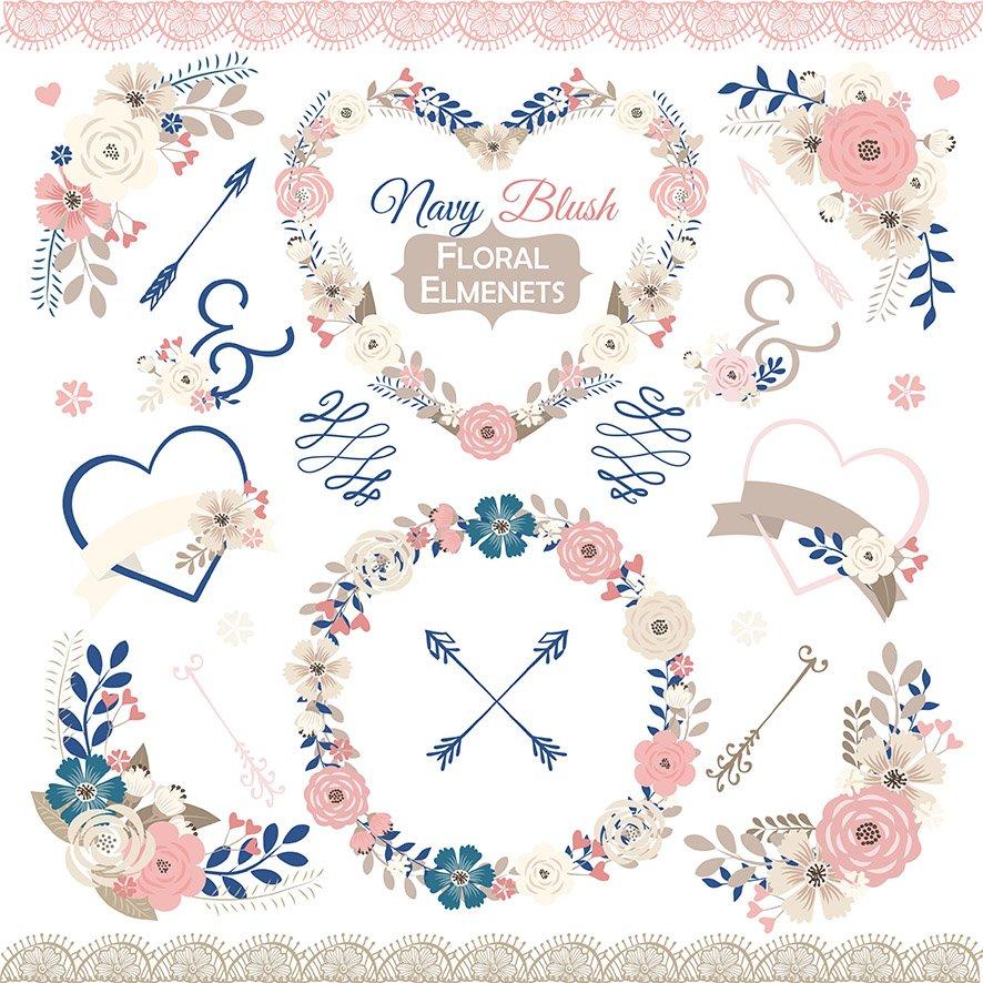 Vector Navy Blush Floral Elmenets Illustrations Creative Market