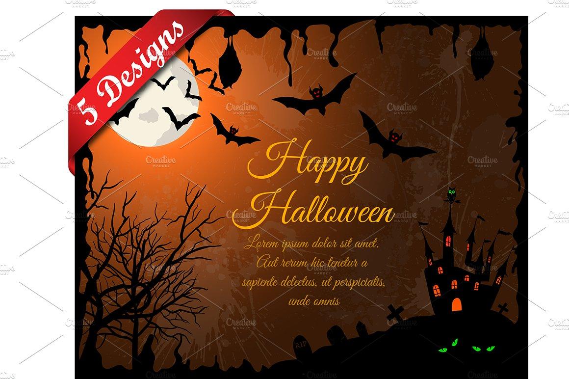 Happy Halloween Greeting Card Cartoon Black Cat Vector Image