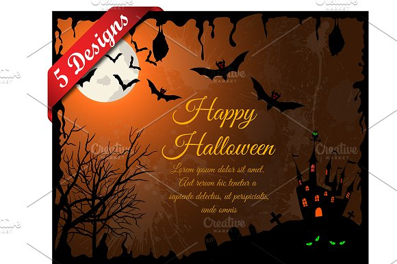 5 Halloween Greeting Cards Illustrations Creative Market
