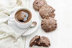 Chocolate cookies and cup of coffee