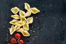 Pasta ingredients. Food frame