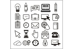 Set of Business Black Icons