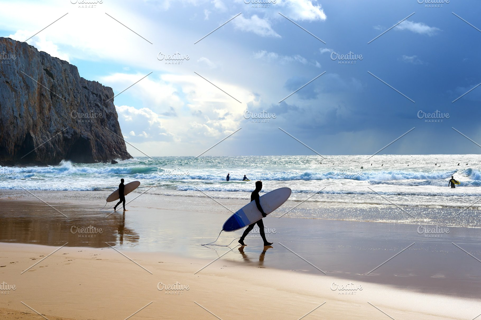 Surfers Surfboards Beach Portugal