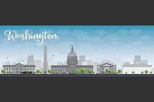 Washington DC skyline with landmarks
