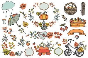 Autumn elements decor set 01