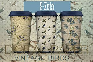 Vintage Birds- 10 Digital paper