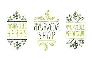 Ayurveda shop product labels