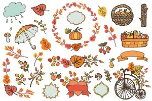 Autumn elements decor set 02