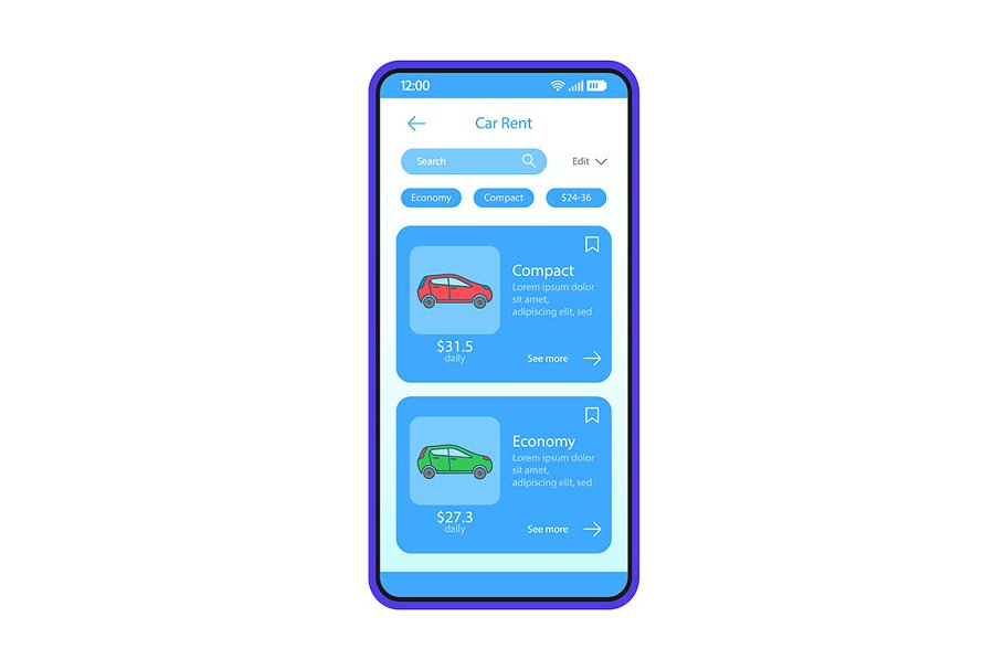 Car rental app interface template