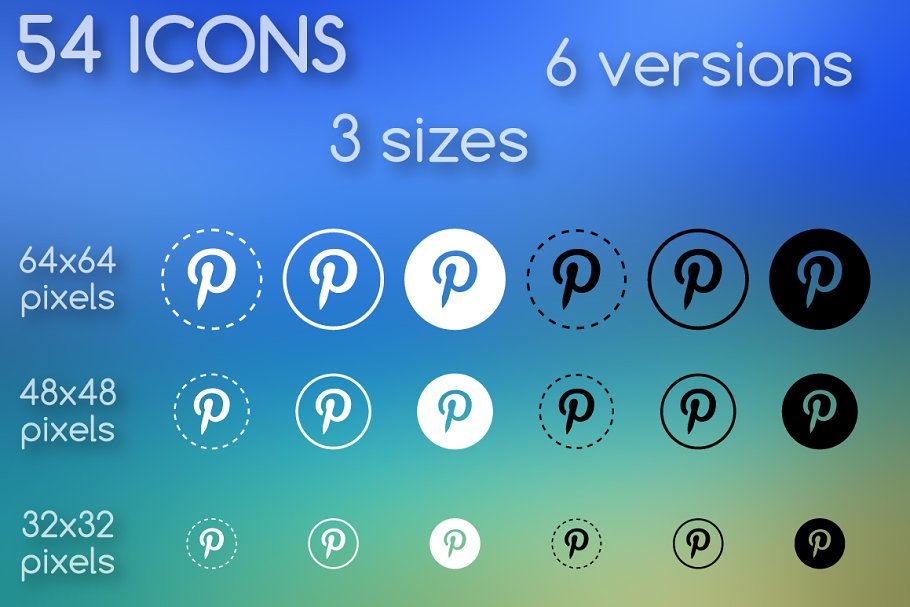 Social media icons, round, outline