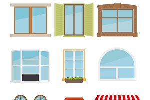 Vector flat window set