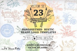 Handsketched rustic logo kit