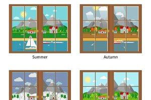 Window in different seasons