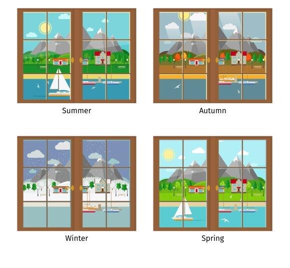 Window In Different Seasons Graphics Creative Market