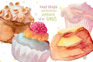 Watercolor cupcakes hand drawn