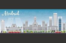 Madrid Skyline with grey buildings
