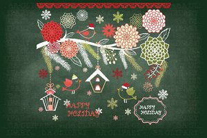 Chalkboard Christmas Floral Clipart