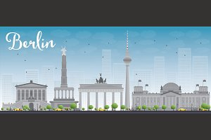 Berlin skyline with grey buildings