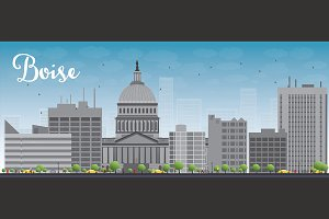 Boise skyline with grey buildings
