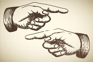 Vintage Pointing Hands Vector