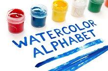 Handdrawn Watercolor Alphabet