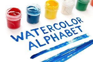 Handdrawn Watercolor Alphabet