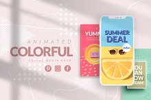 ANIMATED Colorful Social Media Pack by  in Social Media