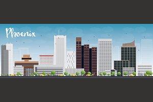 Phoenix skyline with grey buildings