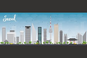 Seoul skyline with grey buildings