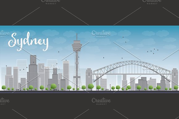Sydney city skyline with skyscrapers