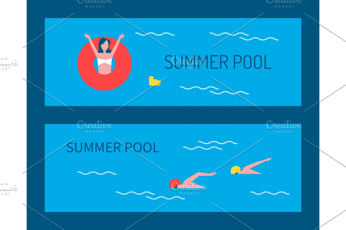 Summer Pool Posters and Text Vector