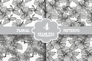 Black and White Floral Patterns(6)