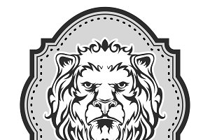 Heraldic lion's head for your design